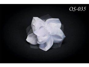 Květinová ozdoba na svatební šaty s krystaly OS-004 (Barva bílá)