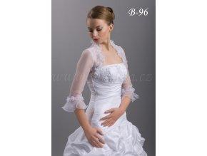 Romantické organzové svatební bolerko - bílé: B-96 (Velikost XXL)