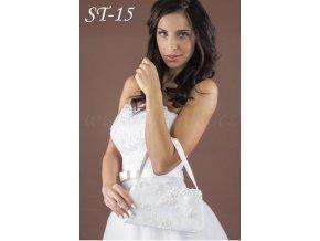 Saténová svatební kabelka pošitá krajkou ST-15 (Barva bílá)