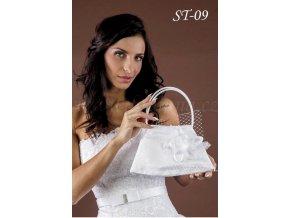 Saténová svatební kabelka s květinou a síťkou ST-09 (Barva bílá)