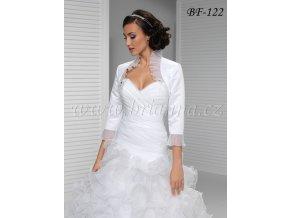 Saténové svatební bolerko se skládanou organzou - bílé: BF-122 (Velikost XXXL)