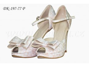 Brokátové svatební boty - lososové (Velikost obuvi 42)