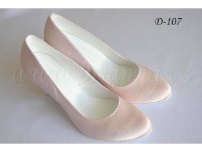 Saténové svatební boty - pudrové (Velikost obuvi 42)