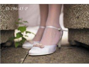 Saténové svatební boty s barevnou mašlí - bílé (Velikost obuvi 42)