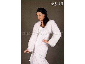 Svatební bolerko z imitace kožešiny - bílé: BS-10 K (Velikost 42)