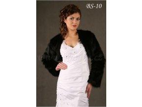 Svatební bolerko z imitace kožešiny - černé: BS-10 K (Velikost 42)