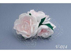 Svatební hřeben do vlasů - květy se síťkou V-014 (Barva bílá)
