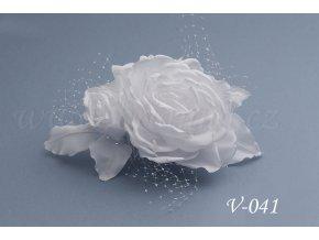 Svatební hřeben do vlasů růže V-041 (Barva bílá)