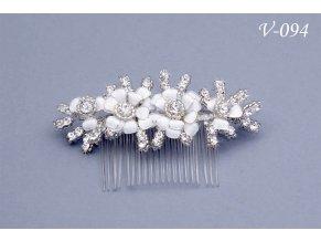 Svatební hřeben do vlasů s květy a korálky V-151 (Barva bílá)