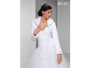 Svatební kabátek s kožešinovým límcem - bílý: BF-87 (Velikost XXL)