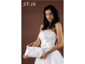Svatební kabelka s krajkou a mašlí ST-16 (Barva bílá)