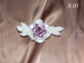 58 svatebni kanzashi fialovobily drobny kvet a 05