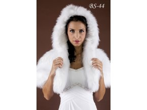 Svatební kožešinová pelerínka s kapucí - ecru: BS-44 (Velikost 42)
