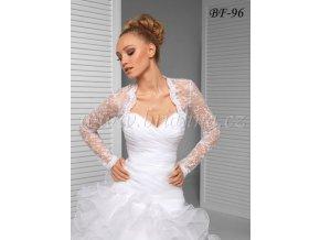 Svatební krajkové bolerko lemované flitry - bílé: BF-96 (Velikost XXXL)