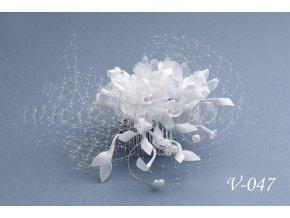 Svatební květina do vlasů se síťkou V-047 (Barva bílá)