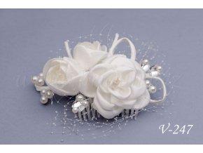 Svatební květinový hřeben do vlasů V-247 (Barva bílá)