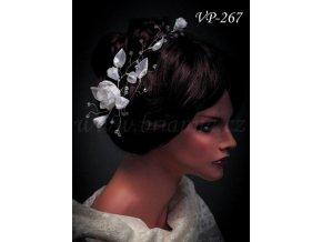 Svatební ozdoba do vlasů -  pás květinami a krystaly VP-267 (Barva bílá)