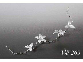 Svatební ozdoba do vlasů - pás do vlasů s květy a krystaly VP-269 (Barva bílá)