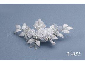 Svatební ozdoba do vlasů - růžičky s korálky V-083 (Barva bílá)