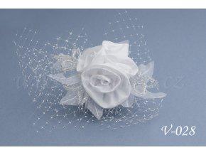 Svatební ozdoba do vlasů se síťkou V-028 (Barva bílá)