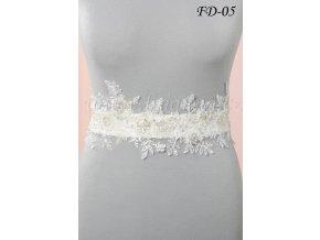 Svatební pás na šaty s květinovou krajkou FD-05 (Barva bílá)