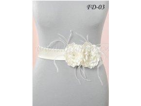 Svatební pás na šaty s květy a peříčky FD-03 (Barva bílá)