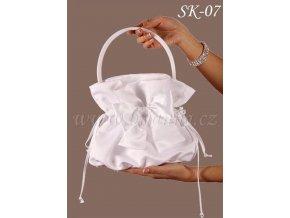 Svatební saténová kabelka s mašlí SK-07 (Barva bílá)