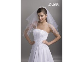 Svatební závoj s 200 stříbrnými krystaly Z-200a (Barva bílá)