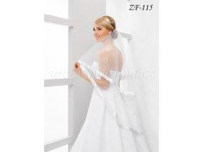 Svatební závoj s širokým saténovým lemem  ZF-115 (Barva bílá)