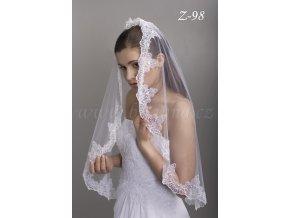 Svatební závoj se španělskou vyšívanou krajkou Z-98 (Barva bílá)