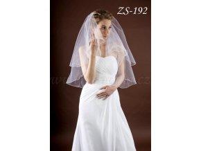 Svatební závoj zdobený krystaly ZS-192  BÍLÝ/KRÉMOVÝ (Barva bílá)