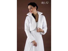 Teplý svatební kabátek lemovaný kožešinou - bílý: BS-52 (Velikost 42)