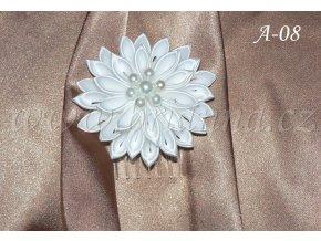 Velká svatební kanzashi květina do vlasů A-08 (Barva bílá)
