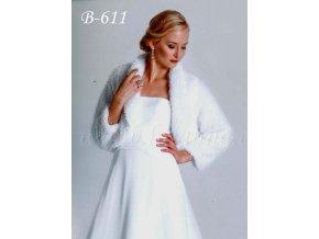 Velurové svatební bolerko - bílé: B-611 (Velikost S/M)