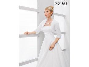 Velurové svatební bolerko s 3/4 rukávem - bílé: BF-165 (Velikost XS)