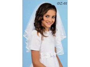 Dětský svatební závoj s kytičkami lemovaný saténem DZ-01 (Barva bílá)