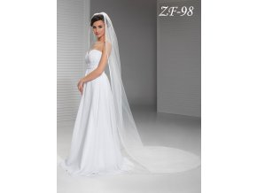 Dlouhý svatební závoj lemovaný saténem ZF-98 (Barva bílá)