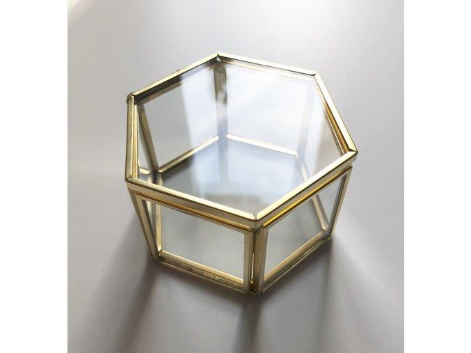 1254 krabicka na prstynky hexagon zlata