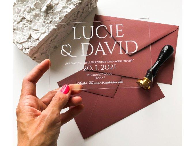 Svatební oznámení - Caps - Plexi (Tiskoviny Pozvánka/Dary 6 x 9cm, Výběr barvy písma Bílá)