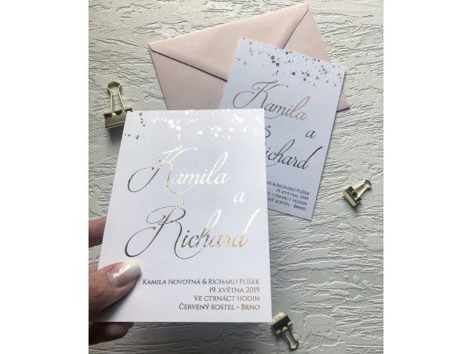 Svatební oznámení - Dots (Tiskoviny Jmenovka - 6 x 9 cm, Barva písma Černá)