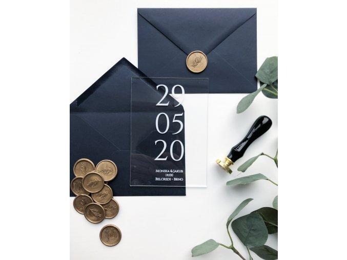 Svatební oznámení - No.1 - Plexi (Tiskoviny Plexi jmenovky 6 x 9cm, Barva písma Bílá)