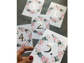 Číslování stolů - V barvě (Tiskoviny Číslování stolů se zdobením do velikosti 10,5 x 15 cm, Barva písma Černá)