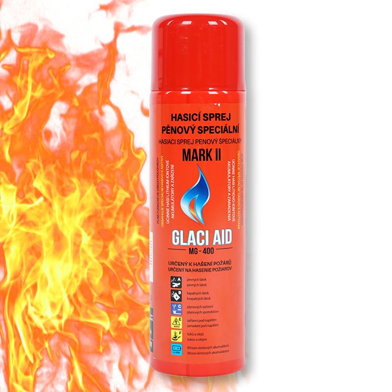 Unikátní hasicí sprej GlaciAid MARK2