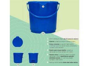 Kbelík potravinářský PP, vhodný i pro potraviny do 120°C (Velikost 15 l)