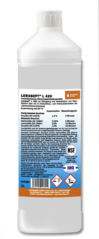Lerasept L 420 - dezinfekční čistič pro potravinářství bez chlóru obsah: 1 l