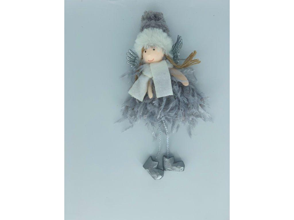 Vánoční dekorace anděl šedý 1