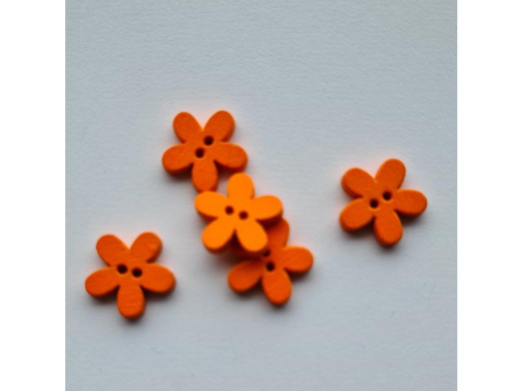 Kvítek oranžový dřevěný 15mm