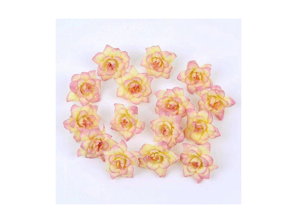 Květ růže žluto růžový 4,5 cm (2)