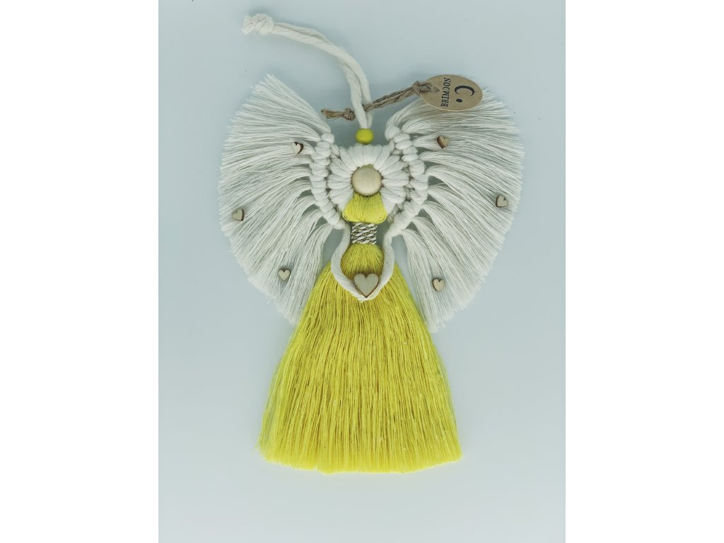 Andílek macramé žlutý 1