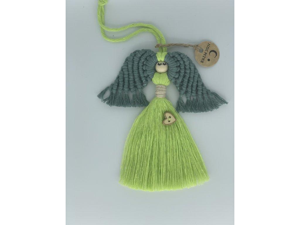 Andílek macramé zelený 1